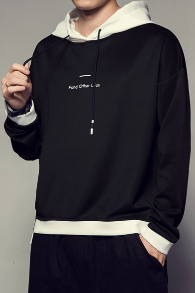 Mens Stylish Letter FAND OTHER LIFON Embroidery Colorblocked Drawstring Hooded Long Sleeve Casual Sports Hoodie