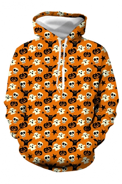 Orange Cute Pumpkin Ghost Allover Pattern Long Sleeve Pullover Hoodie with Pocket, LC565456