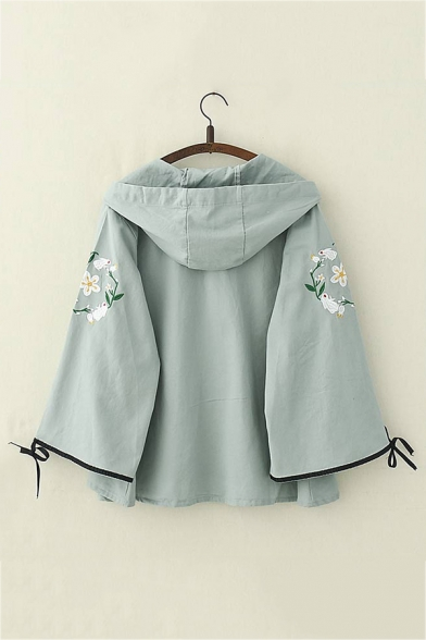 Rabbit Floral Embroidery Tied Long Sleeve Single Breasted Loose Hooded Coat Jacket