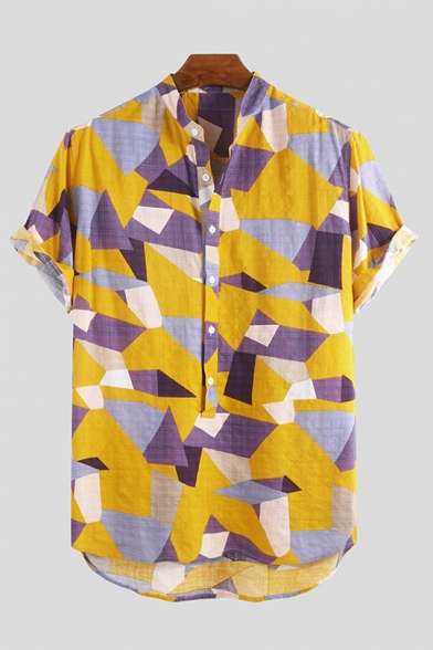 Womens Colorful Geometric Printed Short Sleeve Single Breasted Casual Shirt