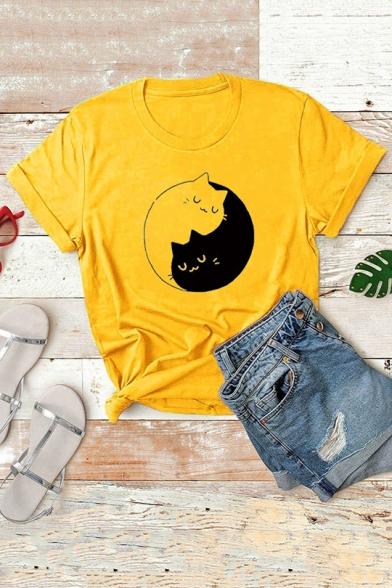Cute Yin Yang Cats Kittens Short Sleeve Round Neck Plain T-Shirt, LC565405, Pink;white;gray;yellow;light purple