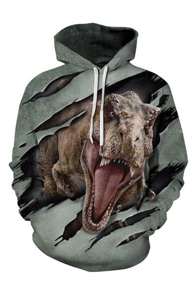 Dinosaur Digital Printed Long Sleeve Casual Drawstring Hoodie