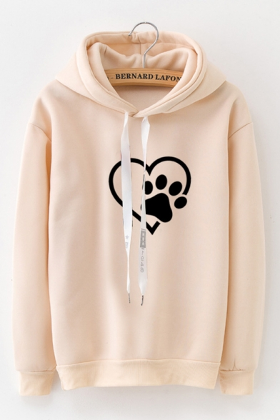 Girls Heart Claw Pattern Long Sleeve Thick Drawstring Fitted Hoodie