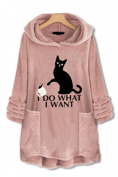 I DO WANT Letter Cartoon Cat Printed Pocket Long Sleeve Faux Fur Teddy Winter Warm Loose Hoodie, LM564473, Dark navy;green;pink;red;brick red
