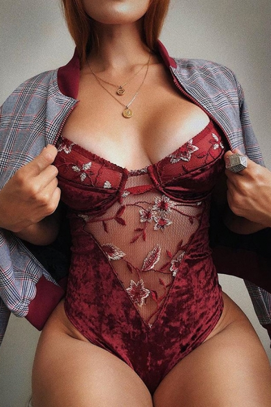 Ladies Floral Embroidered Mesh Panel Red Sexy Strap Romper Top