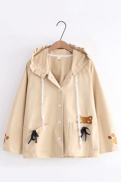 Lovely Embroidery Cat Bow Pocket Single Button Long Sleeve Hooded Trench Coat
