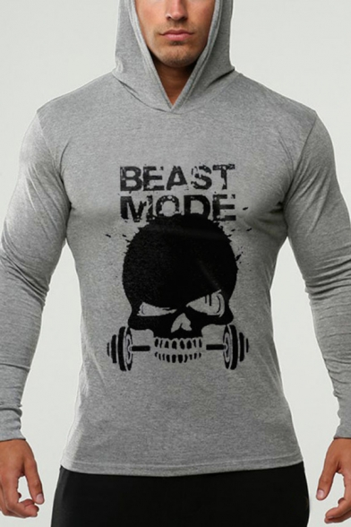 Men's Hot Fashion Cool Skull Letter BEAST MODE Print Long Sleeve Sports Pullover Hoodie