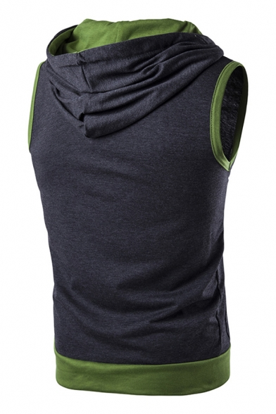 Mens Stylish Contrast Color Sleeveless Zipper Casual Hooded Vest Hoodie with Pocket