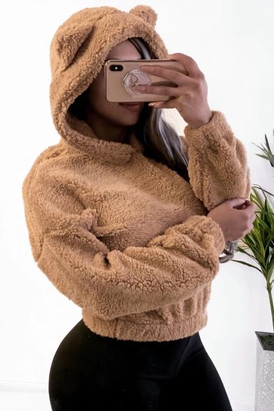 Simple Plain Cute Ear Hooded Fluffy Drop Shoulder Crop Teddy Hoodie, LM564613, Black;burgundy;beige;khaki