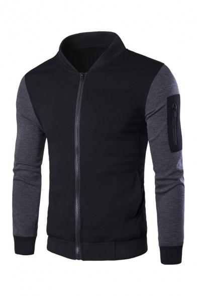 Slimming Contrast Color Splicing Long Sleeves Zipper Pocket Embellished Zip Up Sweatshirt