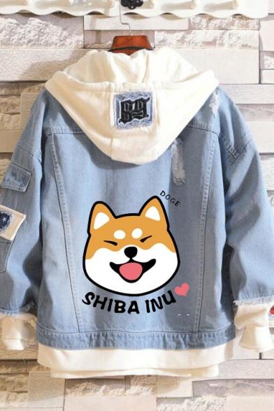 Winter Trendy Lovely Dog Letter SHIBA INU Print Hooded Denim Jacket
