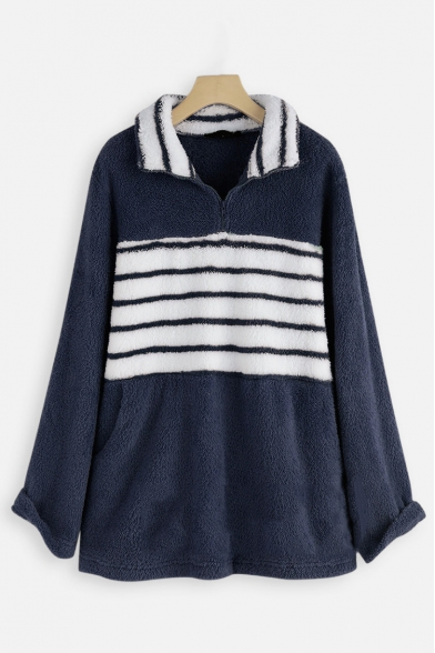 Winter Warm Striped Print Long Sleeve Pocket Faux Fur Teddy Half-Zip Hoodie