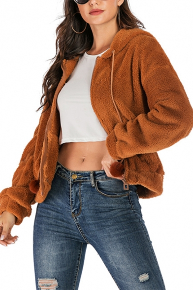Fashion Plain Long Sleeves Fluffy Teddy Camel  Crop Zip Up Hoodie With Pockets