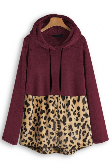 Fashionable Long Sleeve Color Block Leopard Printed Loose Leisure Warm Fluffy Longline Hoodie