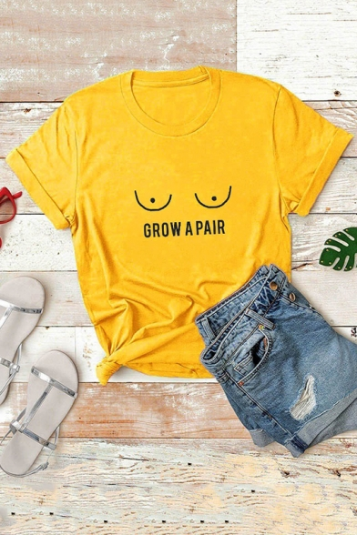 GROW A PAIR Letter Eyes Printed Rolled Short Sleeve Plain Unisex T Shirt, LC565538, Pink;white;gray;yellow;light purple