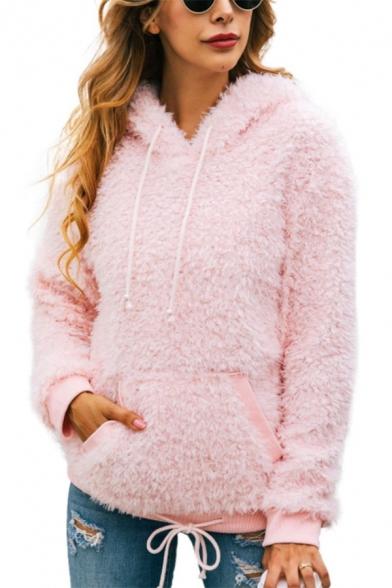 Plain Long Sleeve Pocket Winter Warm Faux Fur Teddy Pink Casual Hoodie