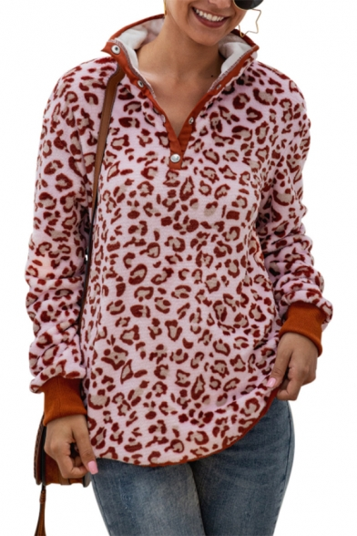 New Stylish Leopard Pattern Button Front Embellished Long Sleeve Fluffy Pullover Sweatshirt, LM564520, Pink;camel