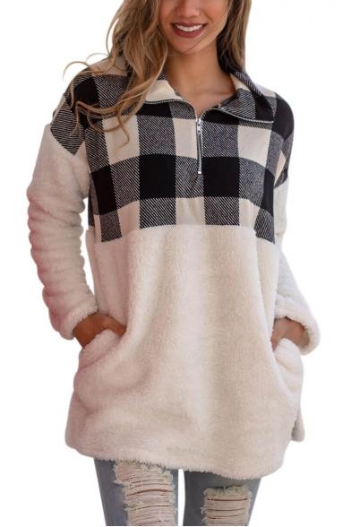 New Trendy Half-Zip Stand Up Collar Plaid Print Color Block Pocket Long Sleeve Loose Fluffy Teddy Sweatshirt
