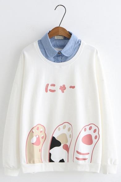 Cute Japanese Letter Cat Paw Pattern Peter Pan Collar Long Sleeve Fake Two-Piece Sweatshirt