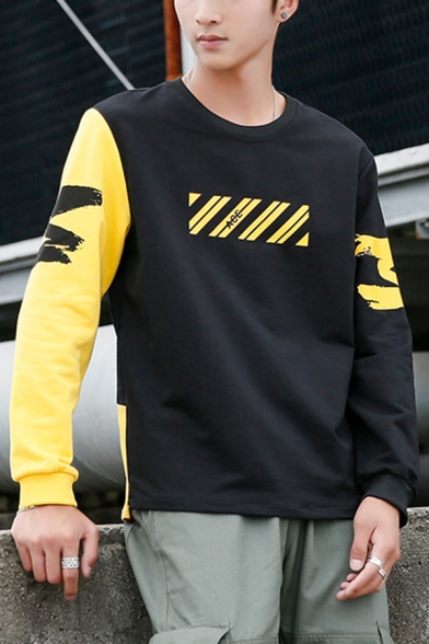 Mens Hot Fashion Diagonal Stripe Letter Printed Colorblock Long Sleeve Round Neck Casual Pullover Sweatshirt