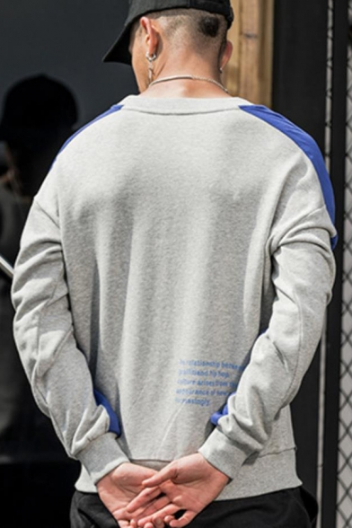 Mens Popular Colorblock Patched Letter Printed Round Neck Long Sleeve Trendy Casual Sweatshirt
