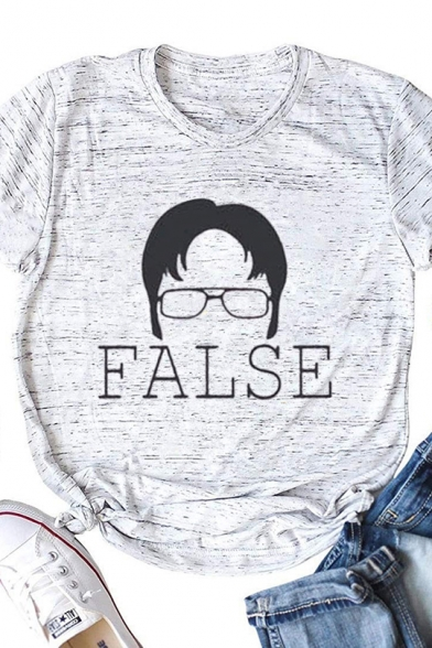 Summer Casual Letter FALSE Roll Short Sleeve Graphic T-Shirt Top
