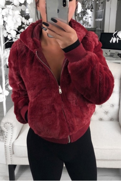 Women' Fashion Plain Warm Fluffy Teddy Long Sleeve Zip Up Hoodie, Black;burgundy;apricot, LM564645