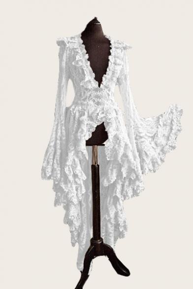 Women's Sexy V-Neck Long Sleeve Plain Print Lace Patchwork High Low Asymmetric Dress Evening Dress