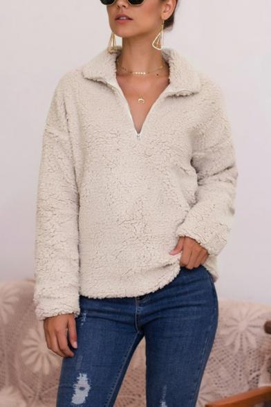 Womens Winter Warm Plain Long Sleeve Faux Fur Teddy Half-Zip Hoodie, Black;apricot;camel;gray, LM564633