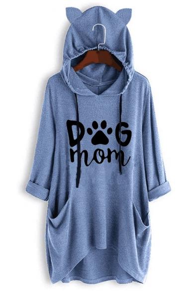 Cute Ear Hood Design Long Sleeve DOG MOM Letter Claw Print Longline Drawstring Hoodie
