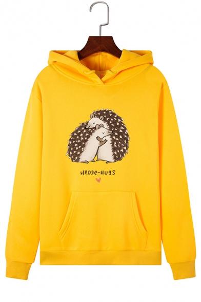 Cute Hedgehog Pattern Long Sleeve White Fleece Hoodie with One Pocket