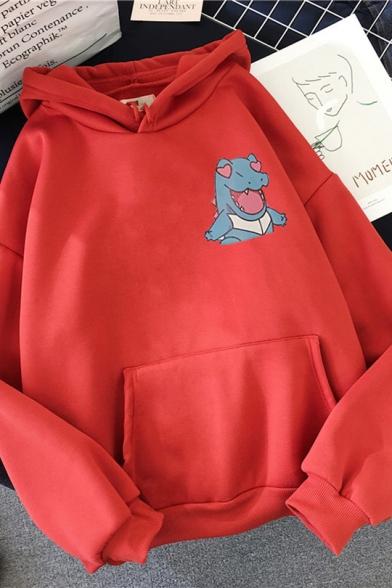 Basic Womens Cartoon Pattern Drawstring Long Sleeve Relaxed Fit Hoodie with Kangaroo Pocket