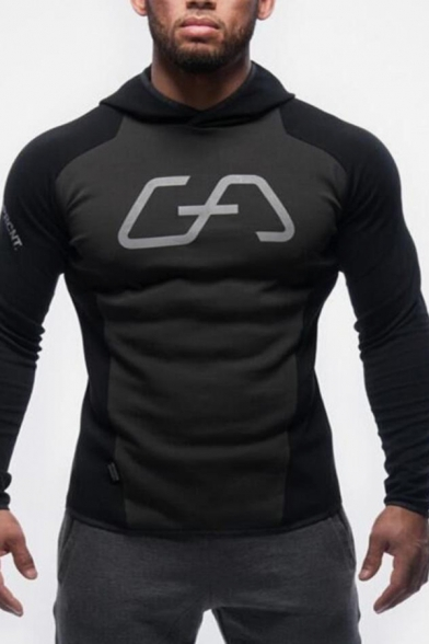 Mens Cool Fashion Logo Letter Printed Long Sleeve Slim Fitted Black Sports Hoodie