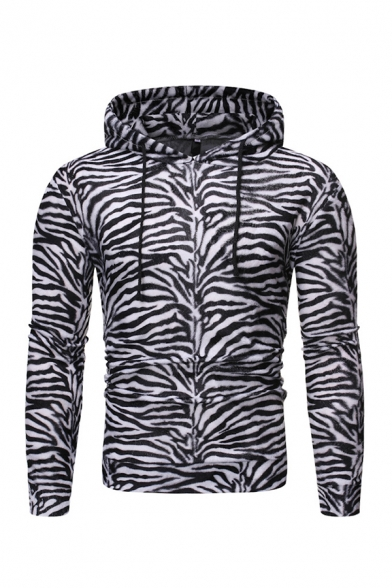 Mens Fashion Tigrina Leopard Zebra-Stripe Print Long Sleeve Fitted Pullover Hoodie