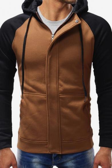 Mens Simple Fashion Colorblock Raglan Sleeve Casual Sports Zip Up Hoodie