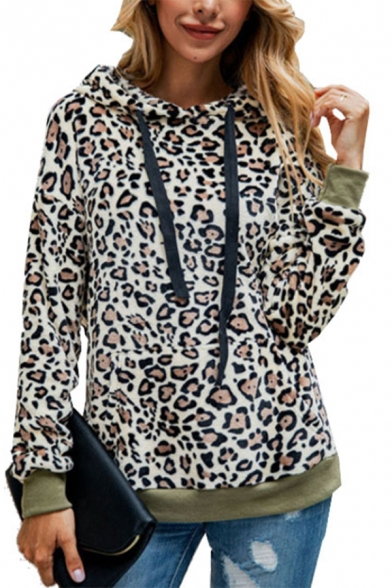 New Fashion Leopard Print Long Sleeve Fluffy Teddy Hoodie With Pockets