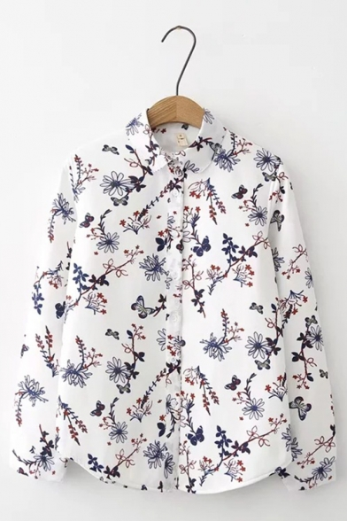 Winter Fashion Allover Floral Pattern Single Breasted Chiffon Long-sleeved Thick Shirt