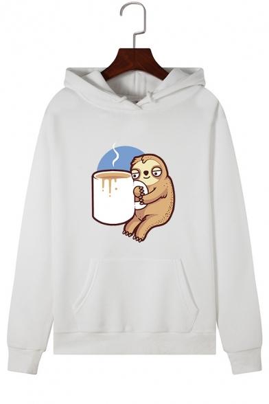 Cartoon Bradypod with Coffee Pattern Drawstring Hood Pullover Hoodie