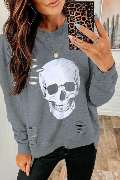 Halloween Skull Pattern Hollow Out Detail Long Sleeve Plain Pullover Sweatshirt, LC565427, Gray;orange-pink