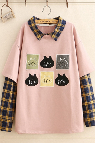 Lovely Cartoon Cat Collage Printed Plaid Patchwork Long Sleeve Oversized Sweatshirt for Studens, LC565399, Dark navy;pink;gray
