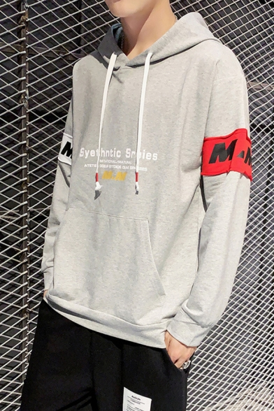 Men's Popular Letter Printed Colorblock Patched Long Sleeve Casual Loose Sports Hoodie
