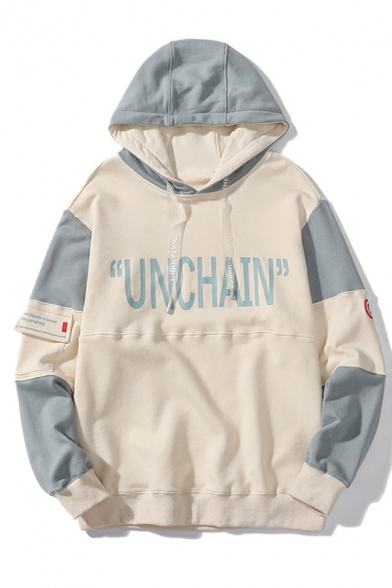 Mens Popular Colorblock Letter UNCHAIN Pattern Long Sleeve Casual Loose Fit Pullover Hoodie