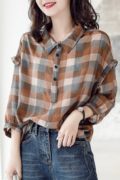 Plaid Printed Stringy Selvedge Detail 3/4 Sleeve Button Down High Low Casual Shirt