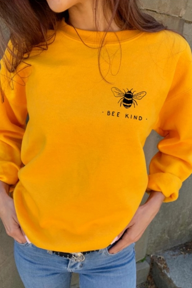 Simple BEE KIND Printed Solid Color Crewneck Long Sleeve Oversized Pullover Sweatshirt