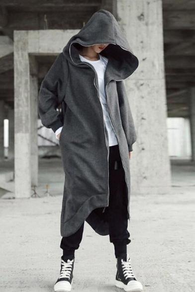 Street Style Grey Long Sleeve Irregular Hem Zip Up Boxy Longline Hoodie