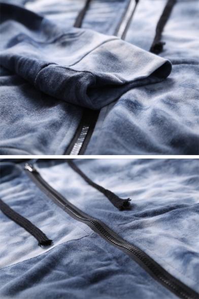 Unique Tie Dye Printed Long Sleeve Zip Up Slim Fit Hoodie with Pocket