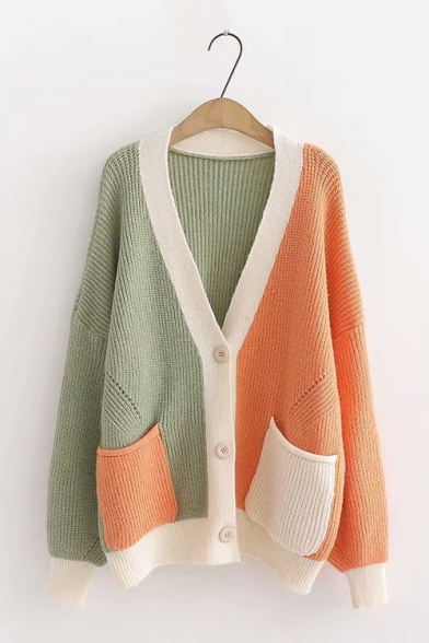 Women's Fashion Drop Sleeve V-Neck Single-Breasted Color Block Patchwork Knitted Cardigan, LC565513, Green;beige;coffee