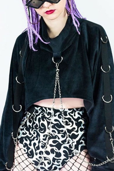 Cool Round Neck Chain Embellished Long Sleeve Velvet Pullover Cropped Sweatshirt