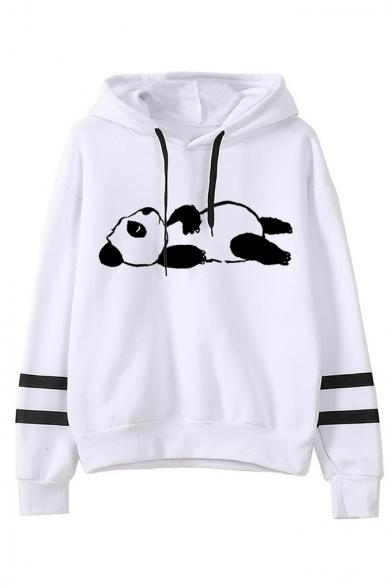 Cute Cartoon Panda Print Stripe Long Sleeve White Pullover Hoodie