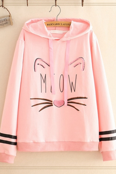 Girls Sweet Cat MEOW Letter Print Striped Long Sleeve Pullover Hoodie